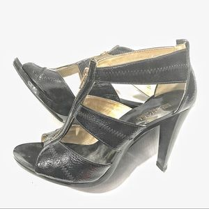 MICHAEL KORS Berkley T Strap Black Patent Leather